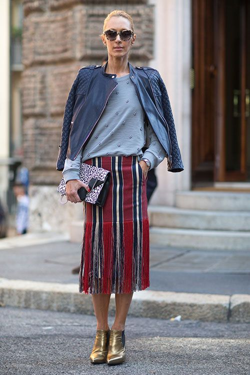 Street Style Milan Fashion Week Spring 2014 Stripes Pinterest Design Och Inspiration