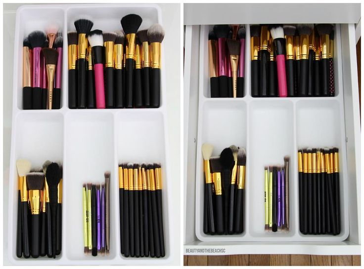 IKEA STODJA Flatware tray (11x20) turned into a makeup brush organizer that fits perfectly into the IKEA ALEX five drawer system.