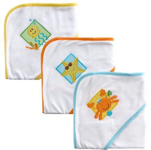Luvable Friends Patches Hooded Towels, Neutral, 3 Pack by BabyVision. $14.99. Machine Washable. 65% Cotton, 35% Polyester. Large, colorful applique. From the Manufacturer                Luvable Friends hooded towels are made of cotton-rich absorbent knit terry to make drying your baby easy. The hooded design keeps your baby warm and cozy after bath. Comes in 3 colorfully stylish bath designs! (Boy: Ship, Shark and Whale || Girl: Snail, Fish and Octopus || Neutral: JellyF...
