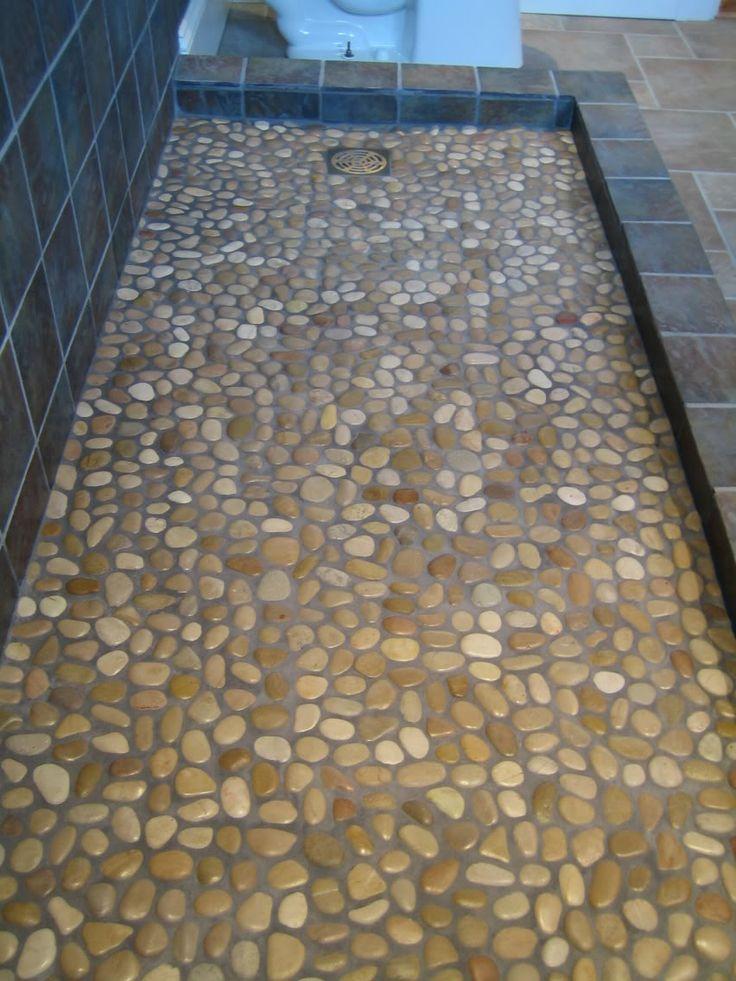 Shower Floor Tile Ideas Licious Gray Rock River Mosaic Shower Floor Tile For Artless Bathroom Designs