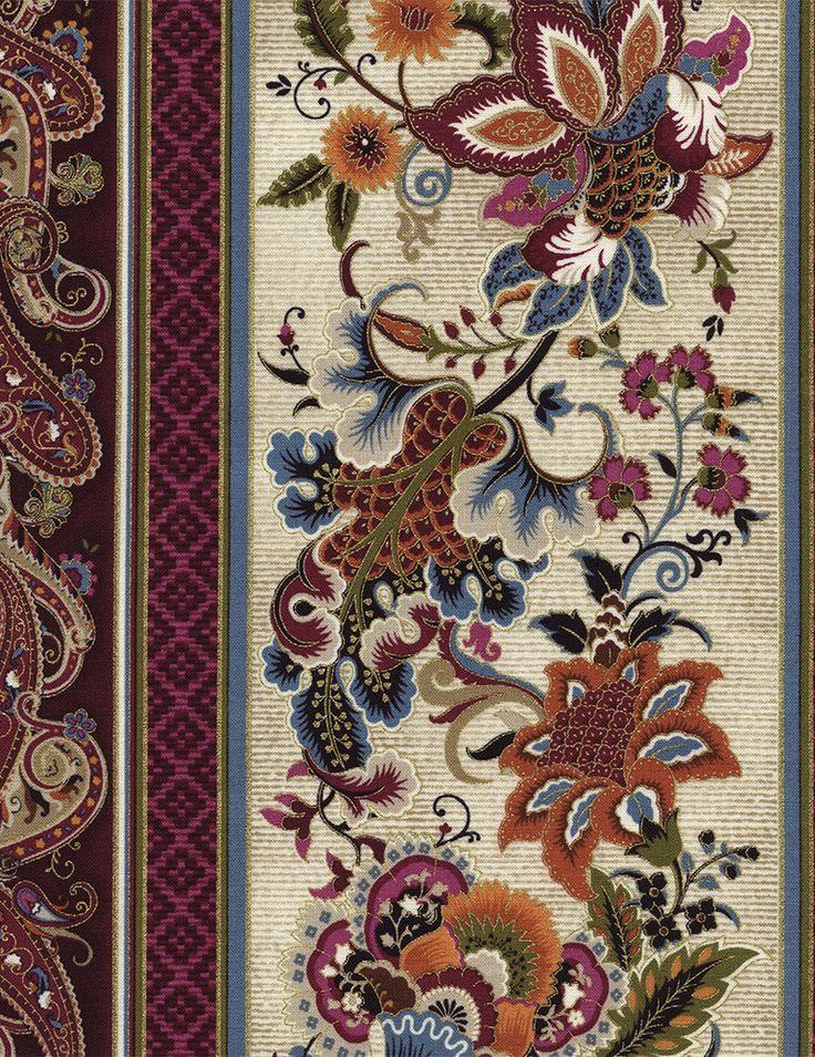 Timeless Treasures - Tivoli-CM4856-Cream 11″ Floral Stripe