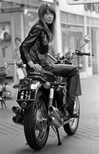 While not a bicycle, who can resist the terminally cool Francoise Hardy... on a motorcycle :)