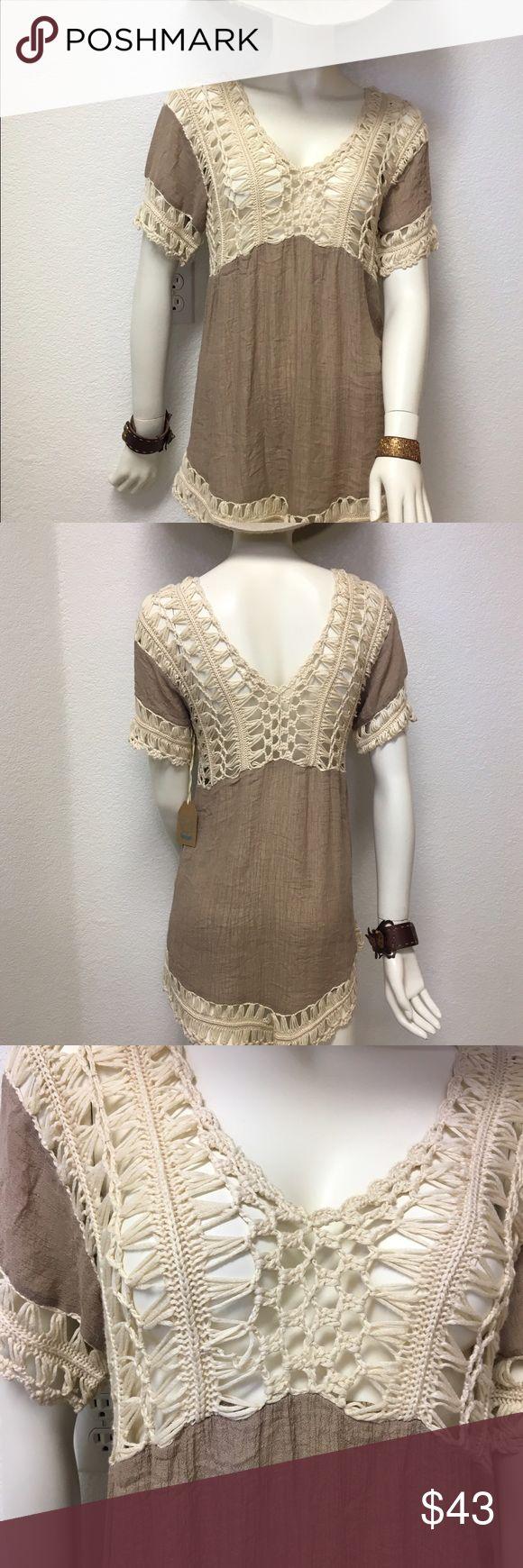 Crocheted Boho Festival Blouse NWT Gorgeous crocheted silk-like blouse by Kori. Kori Tops Blouses