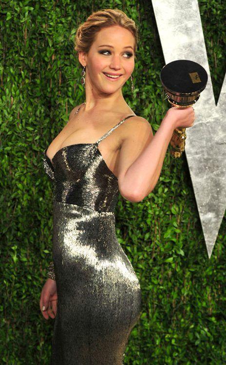 Jennifer Lawrence in a metallic Clavin Klein dress, Vanity Fair Oscars Party 2013, Oscars 2013