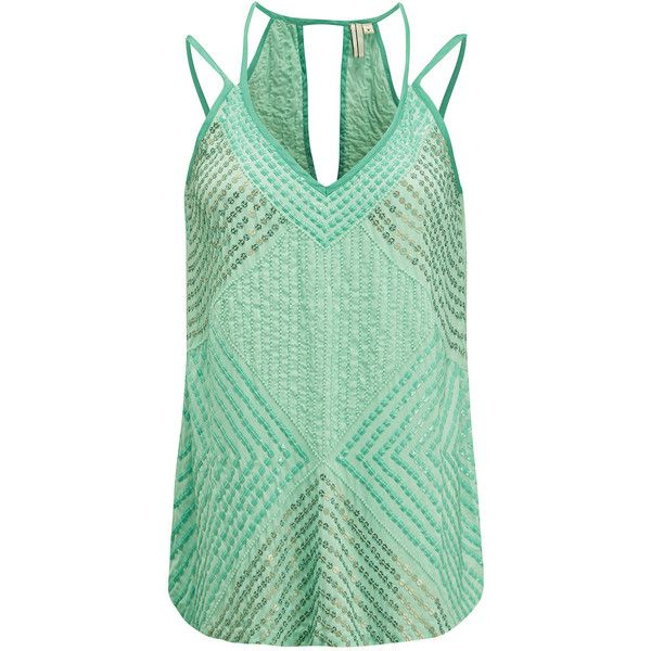 Blank Akishima Sequin Top - Plantation (£105) ❤ liked on Polyvore featuring tops, plantation, special occasion tops, camisole tops, strappy top, beaded evening tops and keyhole top