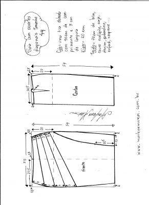 Esquema de modelagem de saia com recorte diagonal tamanho 44.