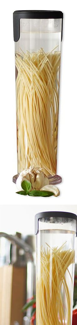 pasta cooker- simply pour in boiling water, uses half the water and 70 percent less energy than stove-top