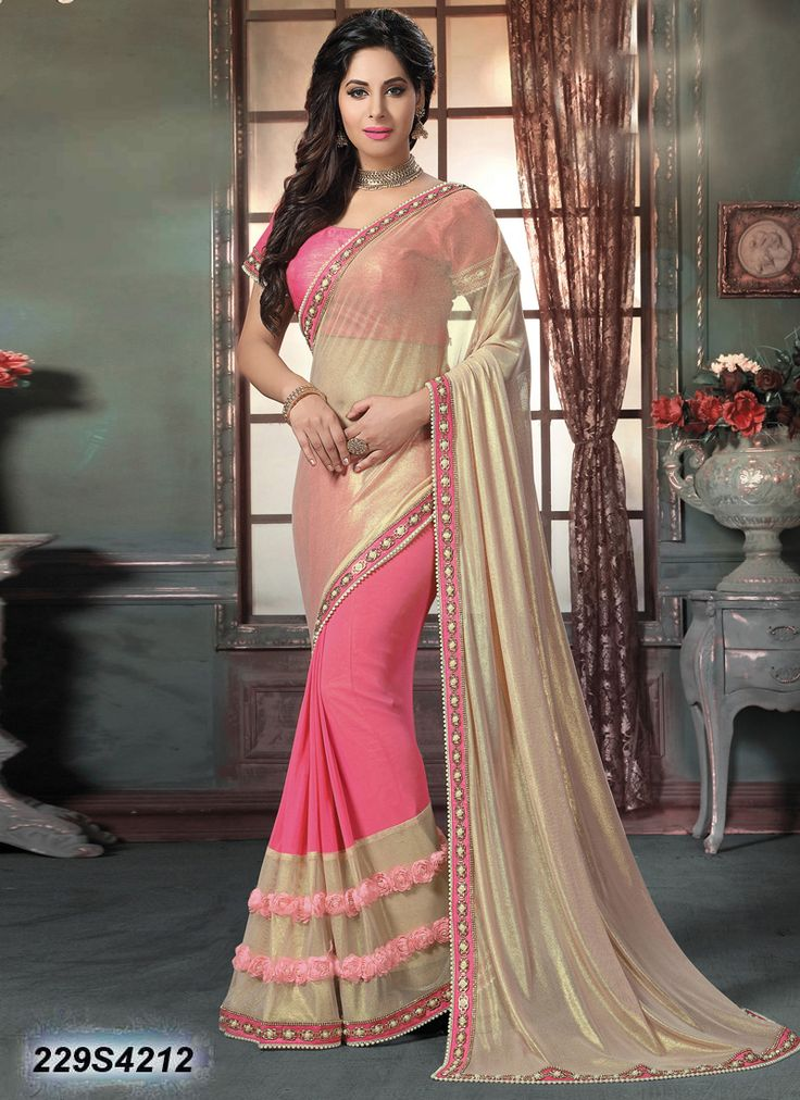 Glamorous Pink Coloured Net Saree