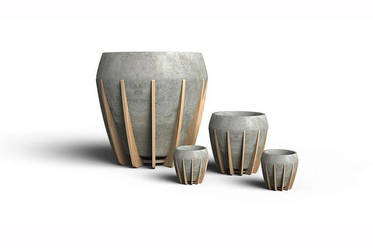 La Morena, wood and concrete pots | Bloempotten beton-hout