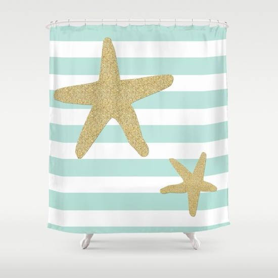 Nautical Shower Curtain  Starfish Shower Curtain Art