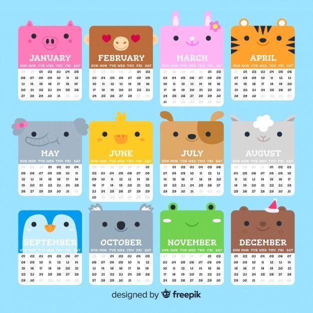lovely 2019 calendar template with flat design vector pinterest