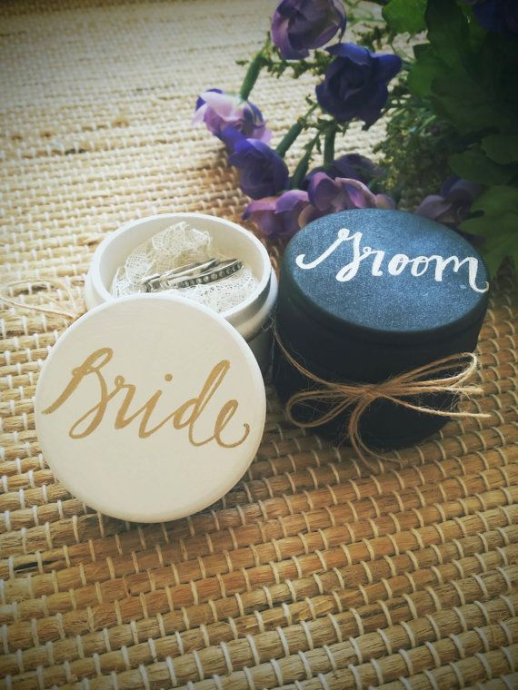 Ring Box Bride and Groom Ring Bearer Boxes by DesignLifeStudio-- Make these?