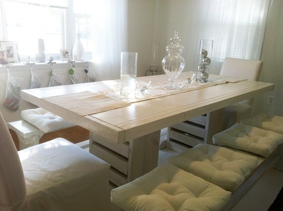 Urban Farmhouse Dining Room Table & Benches