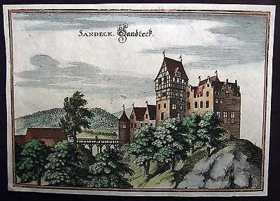 1642 Merian copper engraving SCHLOSS LANDECK SALENSTEIN Thurgau - 370 year old