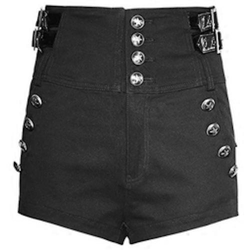 Women Black High Waisted Gothic Military Fashion Dress Shorts SKU-11404007