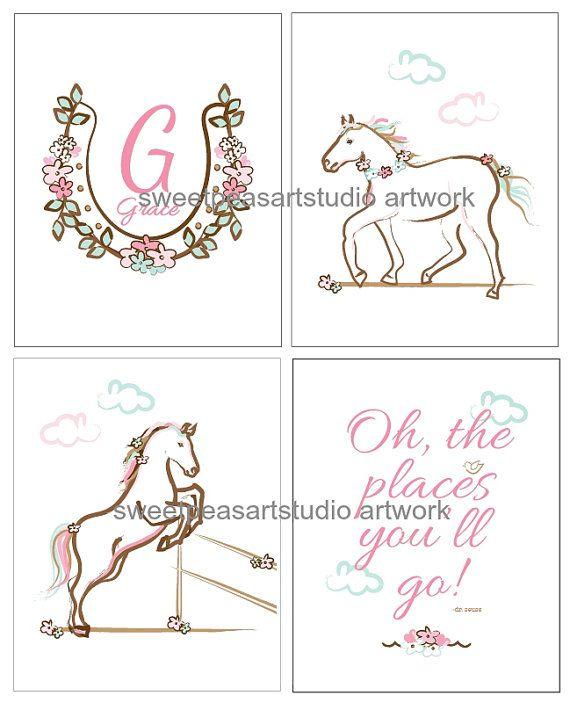 Girls Horses Art Girls Horse Bedroom Art by sweetpeasartstudio2
