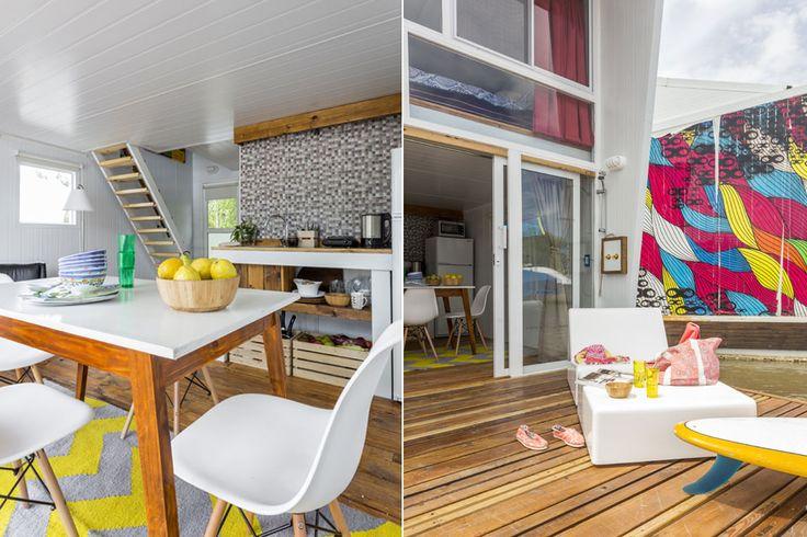 3 vecinos nos muestran sus casas con estilo vanguardista  El deck, de madera de eucalipto rosado, tiene un jacuzzi de 300 litros empotrado y ducha de agua fría y caliente para enjuagarse a la vuelta del río o refrescarse al sol Foto:Daniel Karp