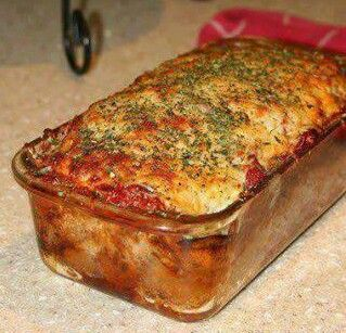 Parmesan Meatloaf 2lbs Ground Beef 1/2 cup Parm Chz 1/4 cup Dijon Mustard 1/2 cup Ketchup 1 tbs dried basil 1 tbs dried parsley 1 tbs oregano 1 tbs thyme 2 teaspoon pepper 1/2 cup mozzarella chz, 4 cloves garlic, chopped 1/4 cup green bell pepper 1 small onion, finely chopped 1/2 cup spaghetti sauce 1 tbs olive oil combine the ground beef, seasonings, and dressings in a bowl. sprayed loaf pan. meatloaf w/ sauce & mozzarella chz bottom rack of oven bake 375 45 min-hr