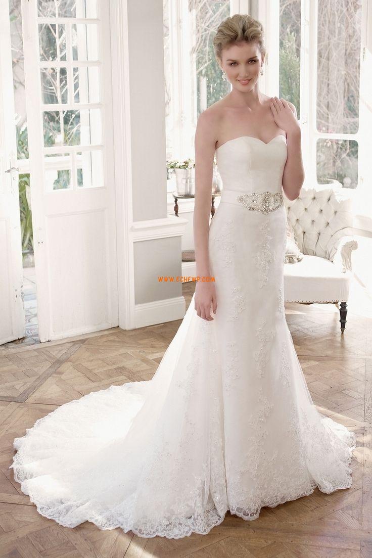 Chapel Släp Vår Ärmlös Lyx Bröllopsklänningar
