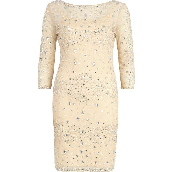 River Island Beige jewel embellished bodycon dress (910 UYU) ❤ liked on Polyvore featuring dresses, river island, vestidos, sale, bodycon cocktail dress, night out dresses, cocktail party dress, going out dresses and bodycon dress