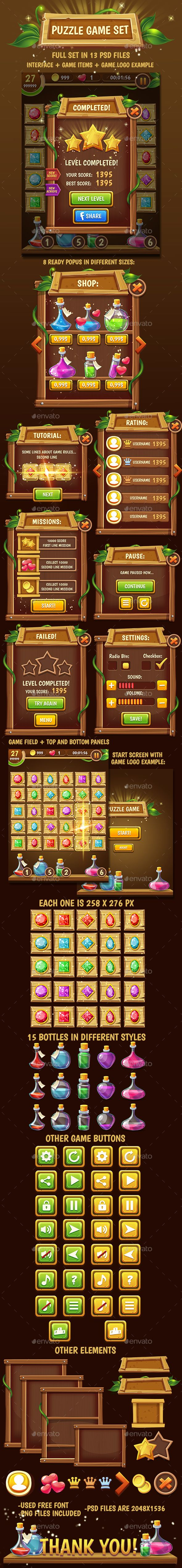 Big Wooden Game Puzzle Set with GUI — Photoshop PSD #fantasy #assets • Download ➝ https://graphicriver.net/item/big-wooden-game-puzzle-set-with-gui/15801871?ref=pxcr