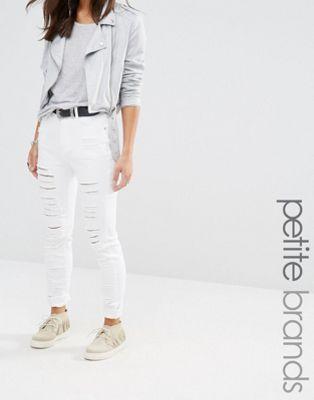 Missguided Petite – Sinner – Jeans mit hoher Taille und vielen Schlitzen