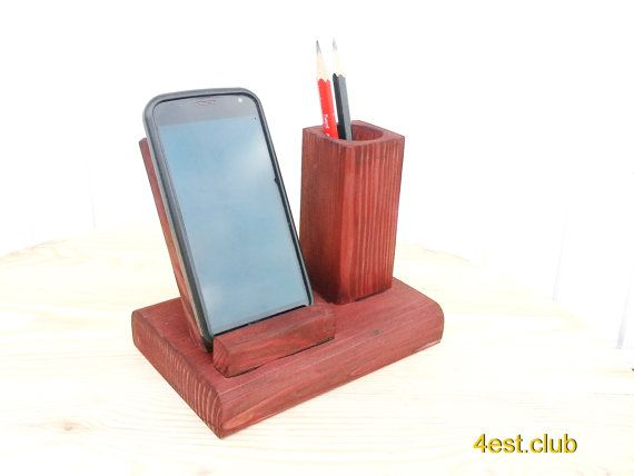 Mobile phone stand, office, phone, wood, gift, chief, pen, pencil, table desk, table stand, good thinпg, wooden holder, table organizer