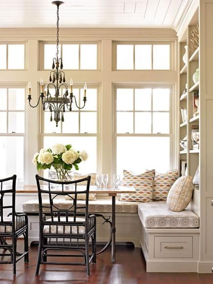 Kitchen banquette- we could absolutely do this at our house with adding a storage wall on the west side of the nook!
