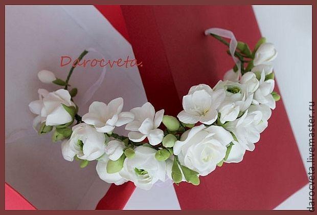 Венок для невесты - белый,фрезии,белая роза,керамическая флористика,цветы из полимерной глины