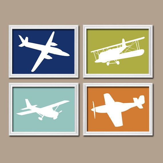 airplanes wall art canvas or prints boy nursery airplane planes navy blue green brown child chevron