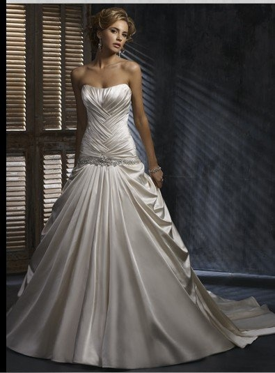 Dropped Waist Sweetheart Satin Aline Gown [WG1180] - $233.00 : LuxeBlue Quality Discount Wedding Dresses & Formal Gowns, Worlds leading supplier of affordable fashion for Wedding dresses, Bridal gowns and discount formal wear. Safe & Fast delivery world wide.  Says its only $233 wtf are these bitches on tv paying three grand for dresses?!: Wedding Dressses, Style, Wedding Ideas, Wedding Dresses, Wedding Gown, Weddings, Satin, Maggie Sottero
