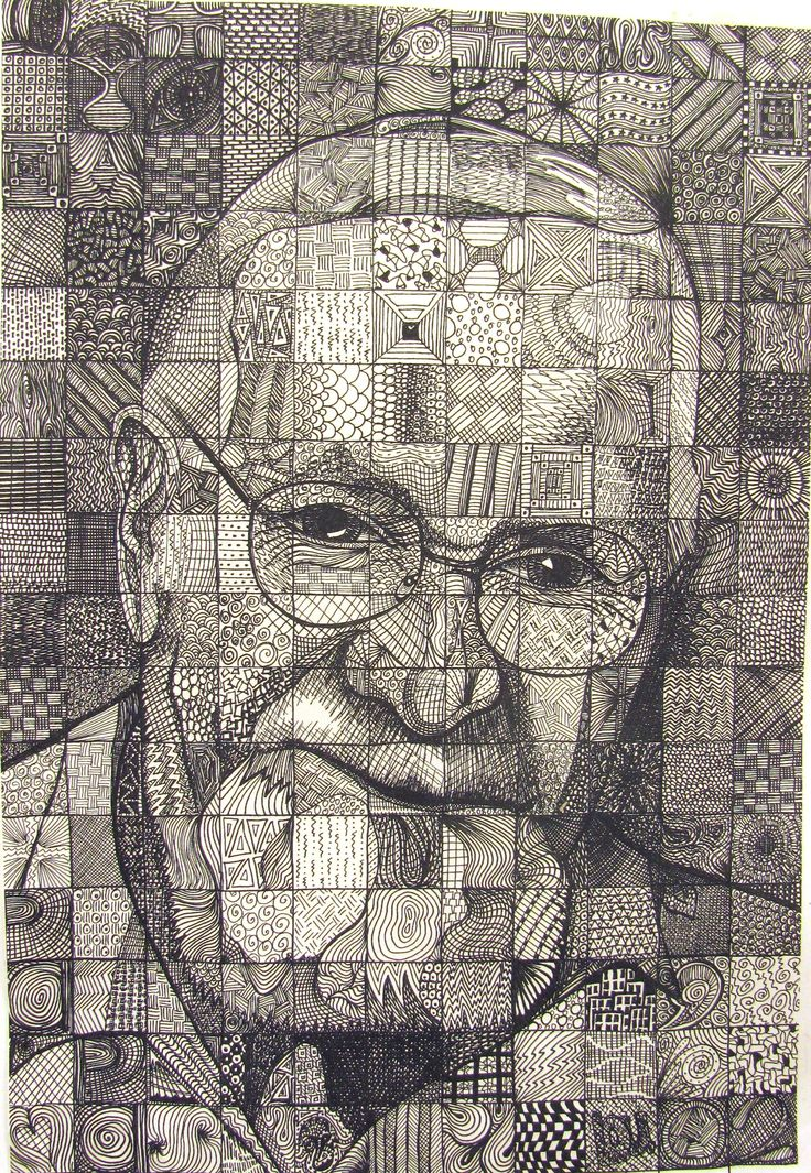 Papa by Lou Traylor example of grid drawing using pattern for value
