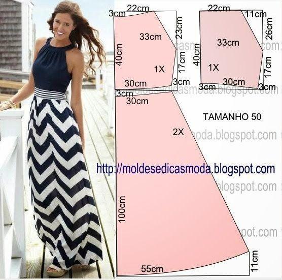 SEQUÊNCIA DO MOLDE DE VESTIDO Corte um retângulo de tecido com a altura e largura que pretende para as...: