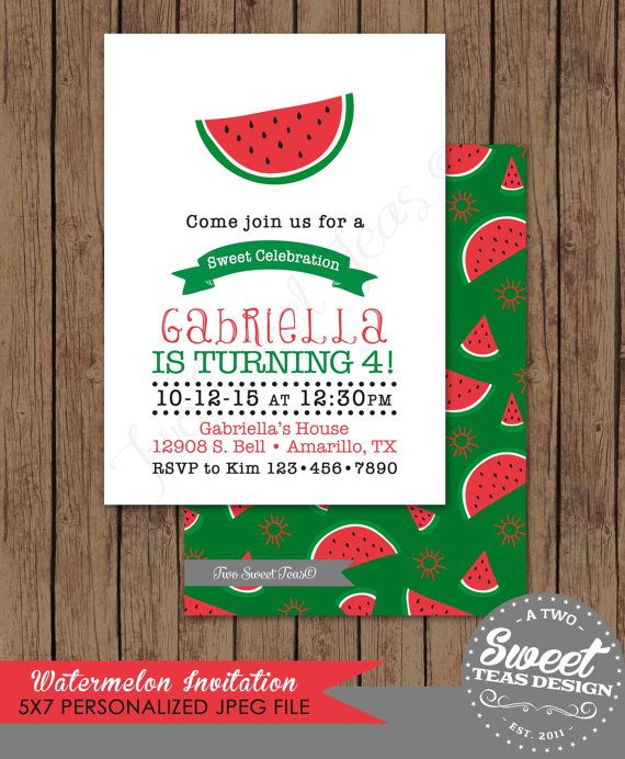 Watermelon Invitation Birthday Party Card by 2SweetTeas