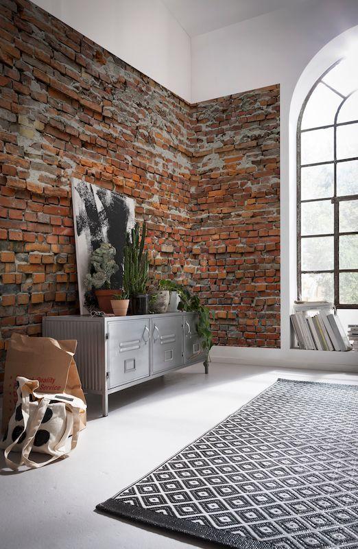 """Vlies-Fototapeten XXL4-025 """"Bricklane"""" - Die rustikale Ziegelwand schafft eine wohnliche Atmosphäre."""
