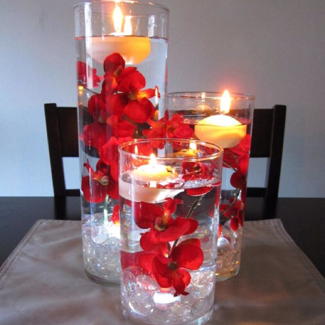 Red orchid wedding centerpiece idea!
