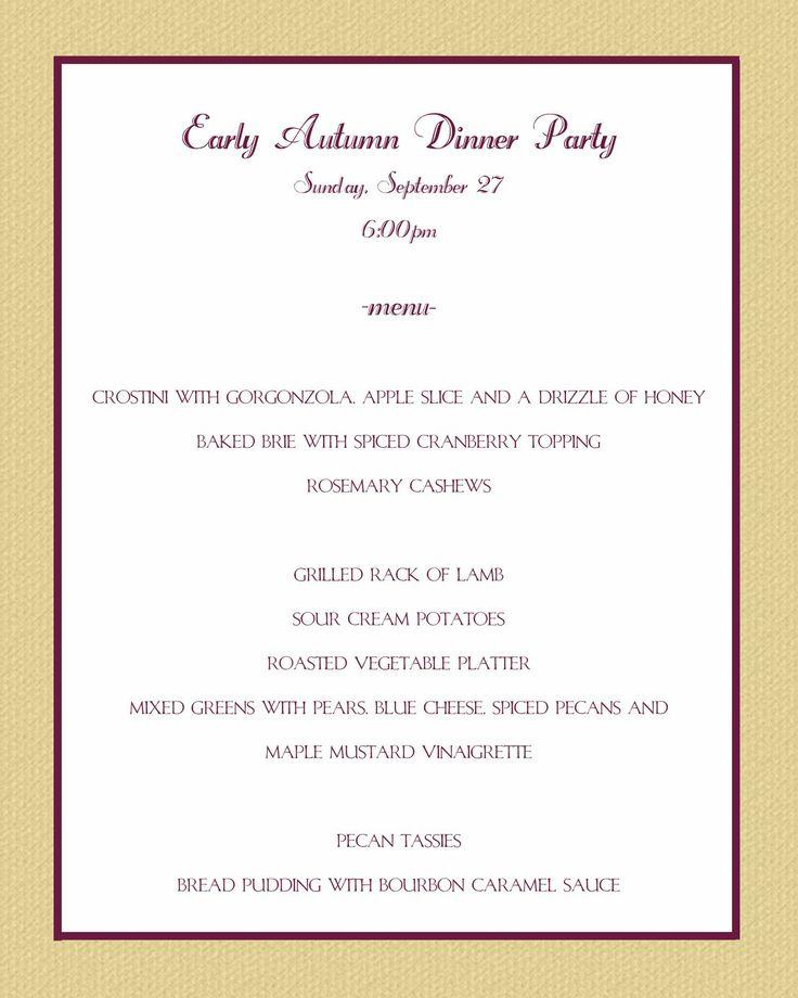 50th Birthday Party Dinner Menu Ideas   Casual Party Menu By Sonja