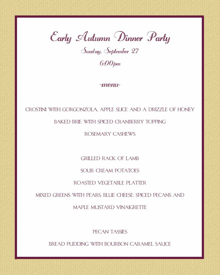 50th Birthday Party Dinner Menu Ideas Casual Party Menu