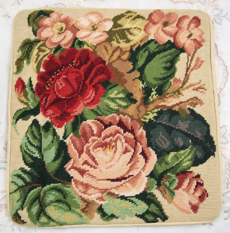 """16"""" Beautiful Full Blooming Red Pink Peony Flowers Needlepoint Pillow Cushion 