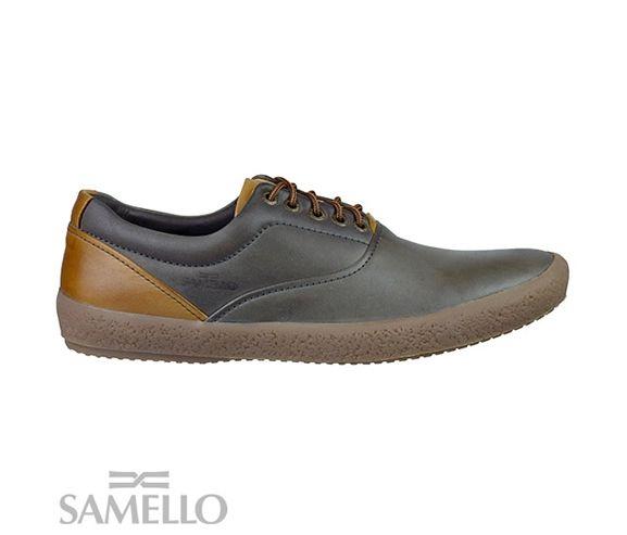 SAMELLO - Mens leather moca casual sneakers. Made in Brazil.