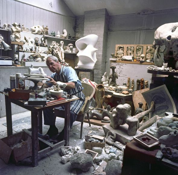 Henry Moore in his maquette studio, Perry Green, circa 1969, reproduced by permission of The Henry Moore Foundation