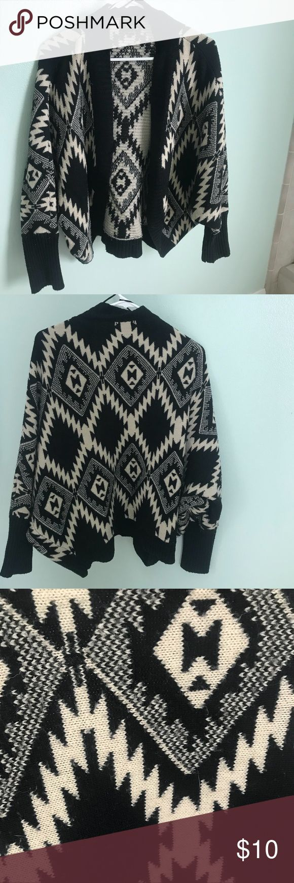 COMFY CARDIGAN Black and white tribal print cardigan. Gently worn and no repairs/damages. Sweaters Cardigans