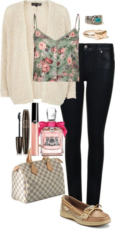 Jeans, cardigan, cropped tank, boat shoes and accessories #Stilababe09♥