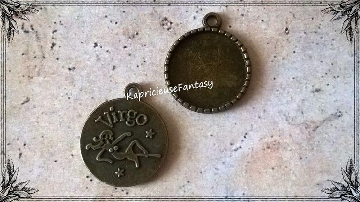 Pendentif Breloque Support Cabochon Signe Astrologique Vierge/Virgo couleur Bronze Antique 28 mm : Médaillons par kapricieusefantasy