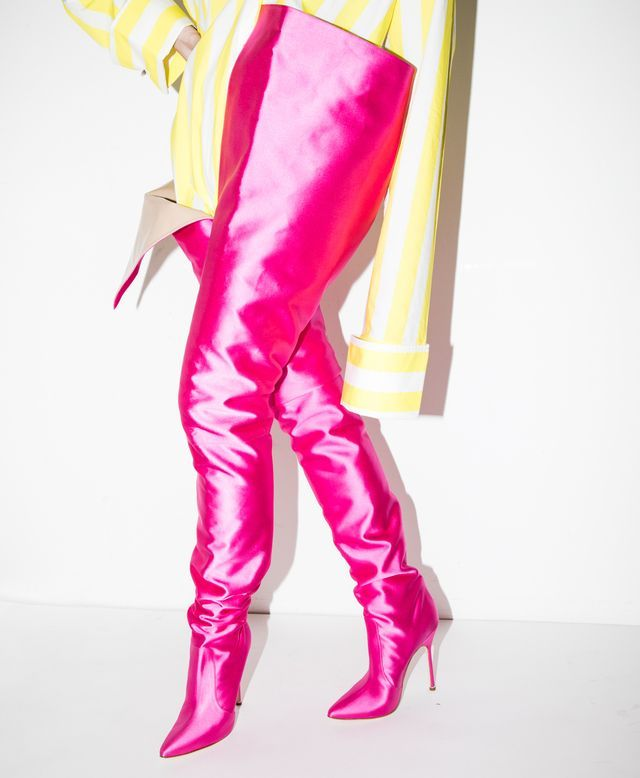 545243953fd4 Vetements x Manolo Blahnik Pink Thigh High Boots (Yes