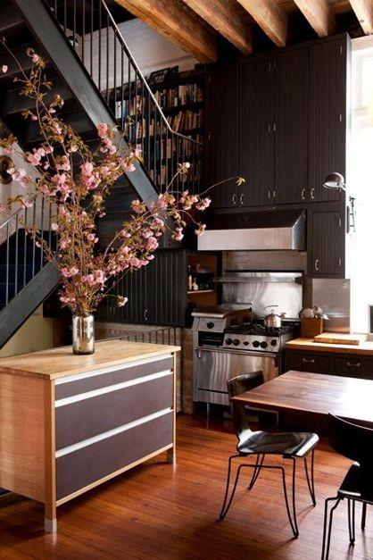 dark, nice: Architects Visit, Loft Kitchens, Dark Cabinets, Dark Wood, Colors Schemes, Gorgeous Kitchens, Under Stairs, Kitchens Cabinets, Dark Wall