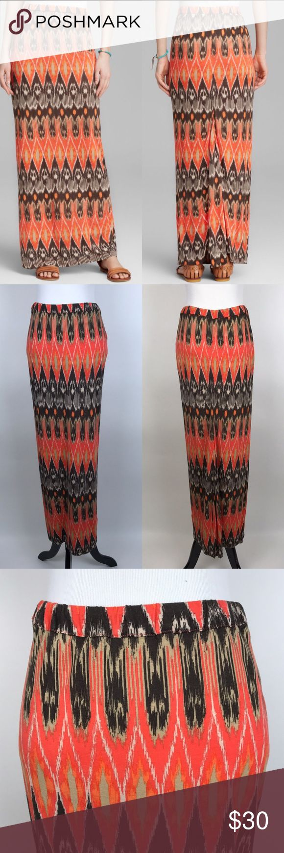 "[Joie] Loni Ikat Print Skirt Red Maxi Long Boho S Long Ikat print Maxi skirt. Pull on style with elastic waistband. Soft and stretchy. Waist: 14"" flat across Length: 38"" Condition: Excellent pre-owned condition. *GG20 Joie Skirts Maxi"