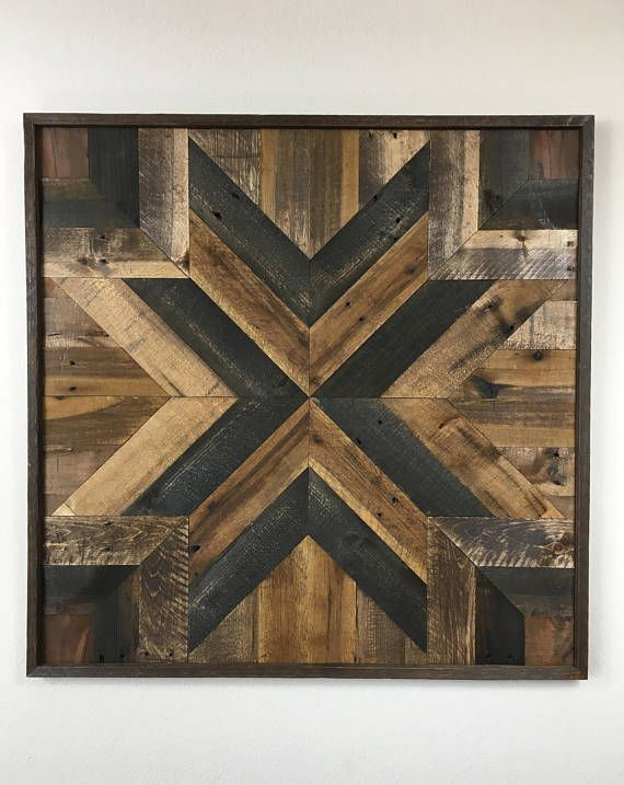 This Is A Very Large Hand Made Wall Hanging Made From Recycled Pallet Wood Its Geometric Design Is Creat Wood Wall Art Wood Pallet Wall Reclaimed Pallet Wood