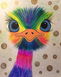 This inquisitive emu has a little bling, a lot of color, and lashes on fleek! The eyes have it on this cheerful painting!