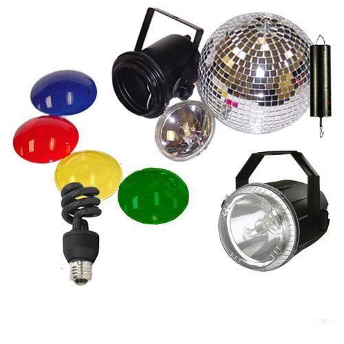 Mirror Ball Kit w/ CFL 20W Blklight Mini Twist and Strobe Light